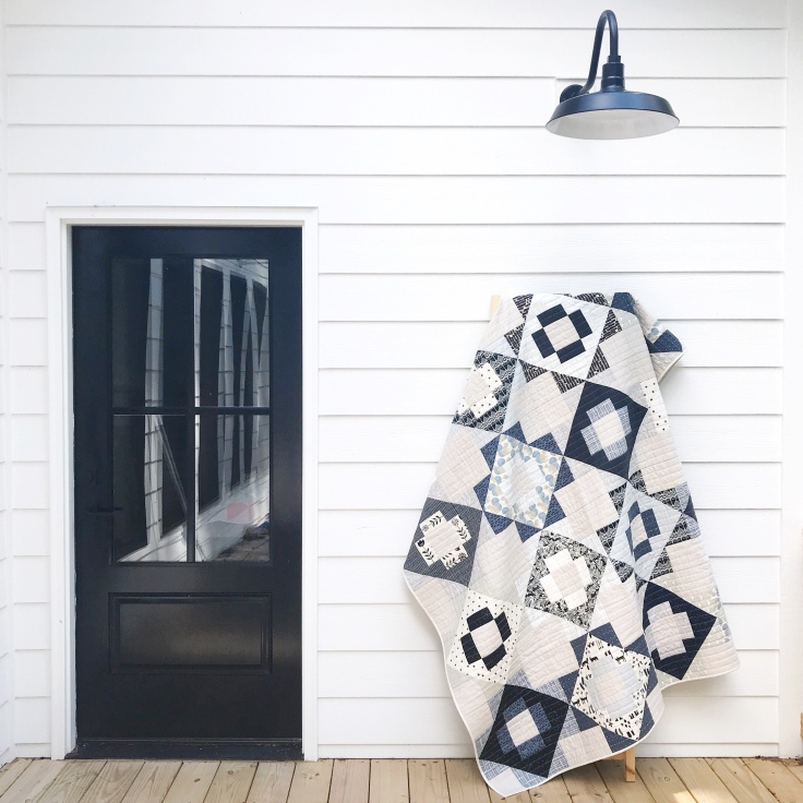 Black White & Blue Meadowland Quilt